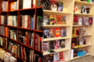 our comicbook shelves in our store